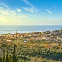 San Vincenzo travel destination view at sunset. Maremma, Livorno, Tuscany, Italy.