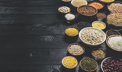 Various cereals, grains, seeds and beans, high fibre diet concept, photo filtered in vintage style
