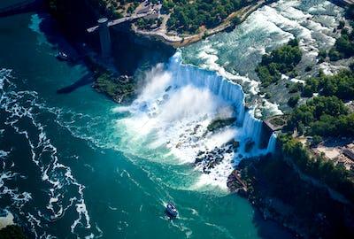 Niagara waterfall from above,Aerial view of Niagara waterfall.