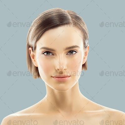 Clean Skin color lips. Blonde brunette short hair Skin Care Concept. Isolated on gray background