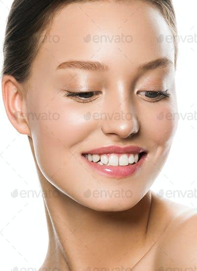 Skin care woman beauty natural make up. Close up view.