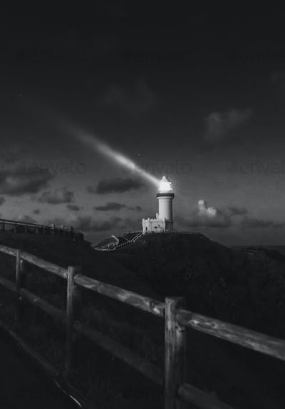 Lighthouse on the mountain at night