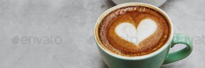 Latte art heart for valentines day