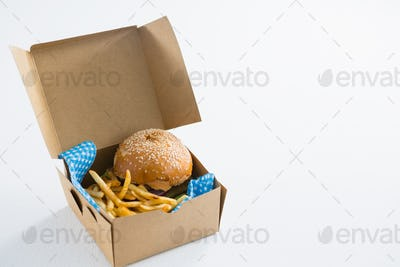 Hamburger with French fries in box