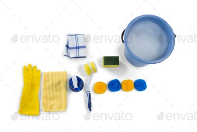 Overhead view of bucket and cleaning equipment