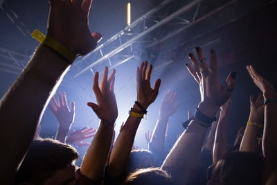 Group of people dancing at a concert