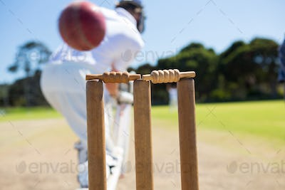 Close up of ball by stump against batsman