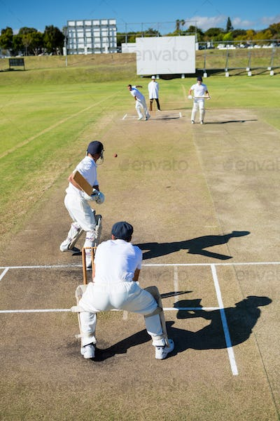 High angle view of players at cricket match