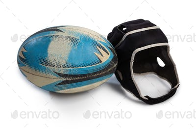 Close up of rugby ball with helmet