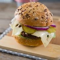 Close up of cheeseburger