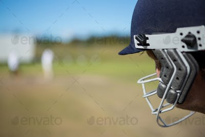 Close up of batsman at field