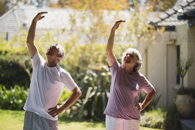 Smiling senior couple exercising together