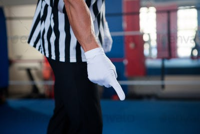 Midsection of male referee pointing down