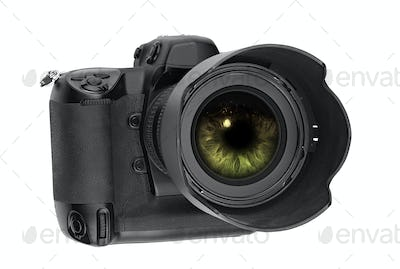 professional digital Lens Reflex with eye inside