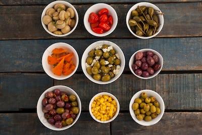 Various food arranged on table