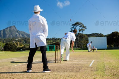 Team playing cricket on pitch against sky
