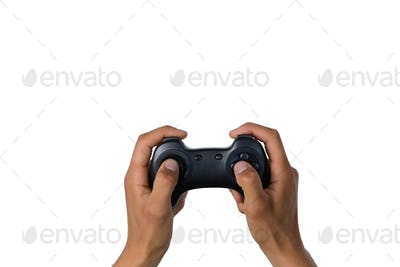 Cropped of hand holding controller