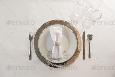 Elegance table setting on white background