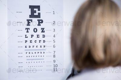 Optometrist looking at eye chart