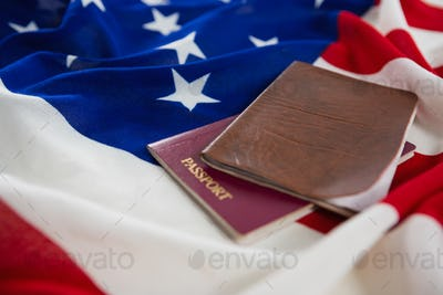 Passport and visa on an American flag