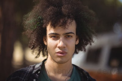 Portrait of man with curly hair