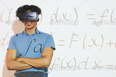 Solving math problem using VR headset