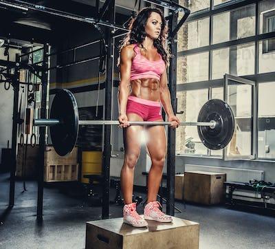 Sexy sporty female in pink sportswear holding barbell.