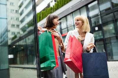 Beautiful happy women with shopping bags walking at the mall