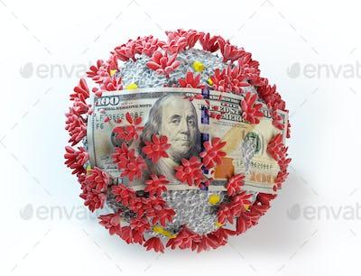 One hundred dollar bill on coronavirus Covid19. Economic crisis