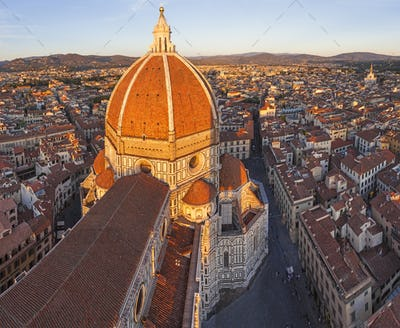 High angle view of the Duomo Santa Maria del Fiore and skyline, Florence,Italy.