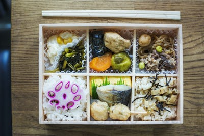 High angle close up of Bento box with traditional Japanese foods and chopsticks on a wooden table.