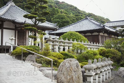 Exterior view of Japanese Buddhist temple.