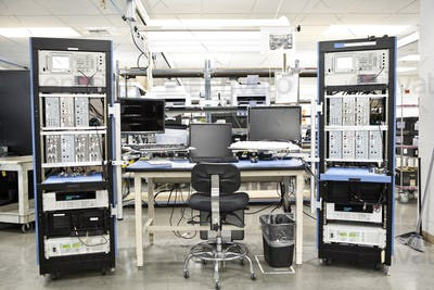 A workbench location in a technical research and development site.