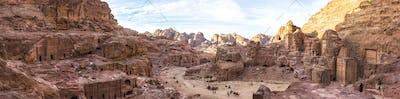 Panoramic view of  rock-cut architecture at Petra, Jordan.