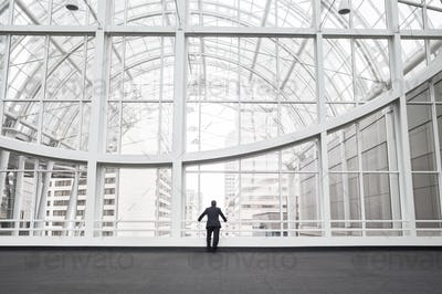 A man standing in a glass atrium in an office building, leaning on a railing, rear view.