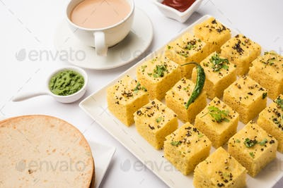 Gujarati Khaman Dhokla or Steamed Gram Flour Puffy Snack Cake