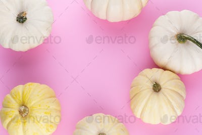 Creative Top view flat lay pumkin composition.