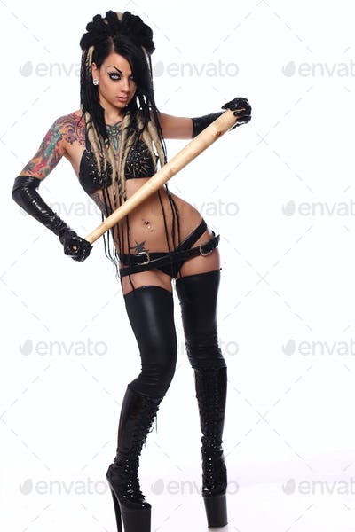 Sexy emo girl in black underwear.