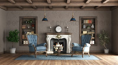 Classic style living room with fireplace and blue armchair