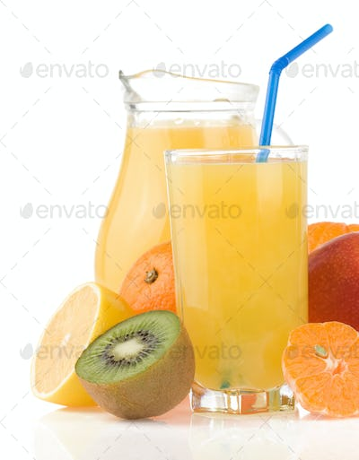 fresh fruits juice in glass and slices isolated