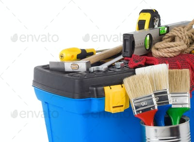 construction toolbox and tools isolated on white