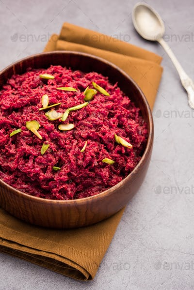 Beetroot halwa or Halva is an Indian desserts tastes great when served chilled