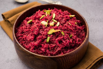 Beetroot halwaor Halva is an Indian desserts tastes great when served chilled