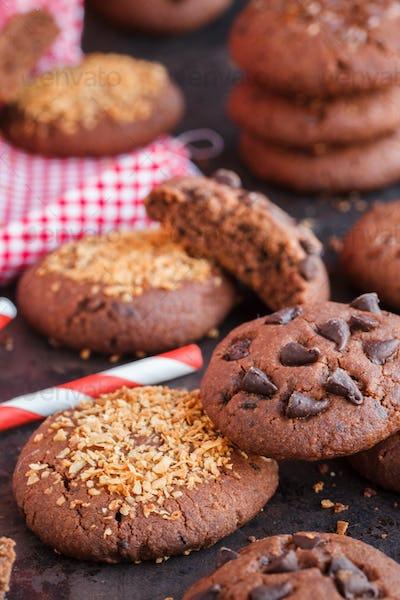 Chocolate chip cookies with flax seed,chocolate