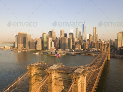 Brookyln Bridge Aerial view with American Flag