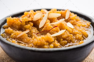 Moong Dal Halwa or Mung Daal Halva is an Indian sweet / dessert recipe, garnished with dry fruits