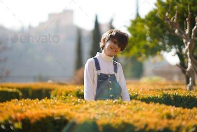 Eight-year-old girl having fun in an urban park