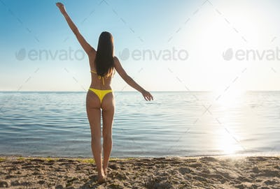 Fit Girl In Bikini Standing On Beach Back To Camera