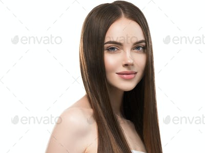 Beautiful hair smooth long brunette beauty woman healthy hairstyle young happy female isolated white