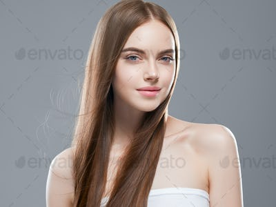 Beautiful hair smooth long brunette beauty woman healthy hairstyle young happy female model